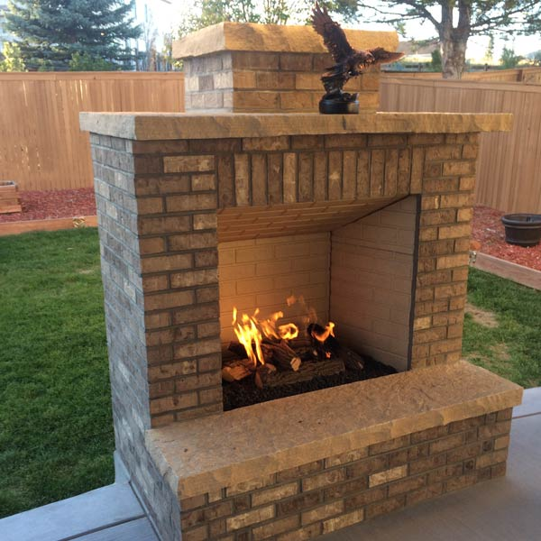 Outdoor Fireplace On Concrete Patio