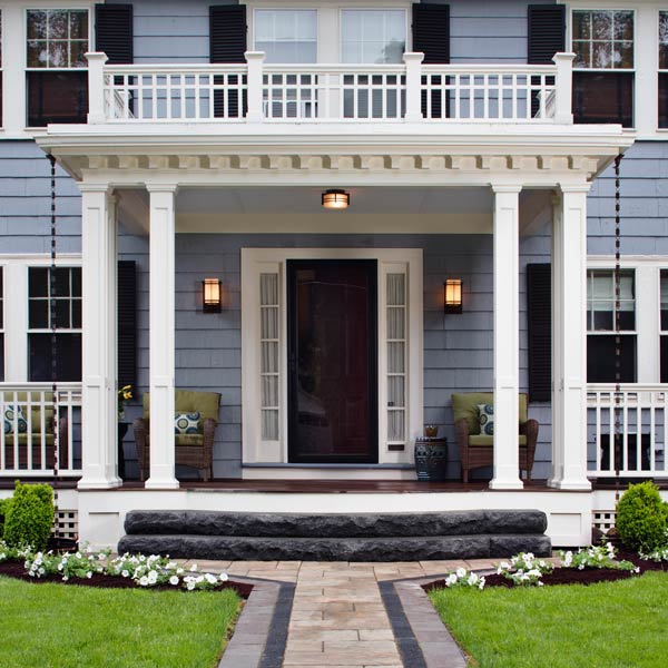 Front Porch With Stone Pillars