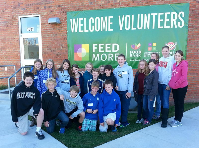 Each semester, our Middle Schoolers volunteer at Feed More and deliver meals for Meals on Wheels.