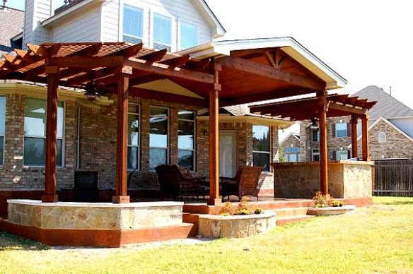 This Patio Cover By Archadeck Of Austin Serves As A Triple Threat With The  Clever And Unique Use Of Twin Pergolas Encompassing The Central Patio Cover.