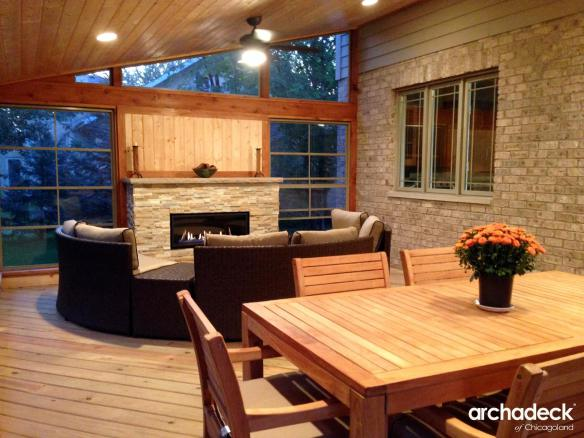 Outdoor fireplace archadeck outdoor living attached to the back of their home the owners wanted a roof structure that had room for both a living area and a dining area the archadeck team not only ccuart Images