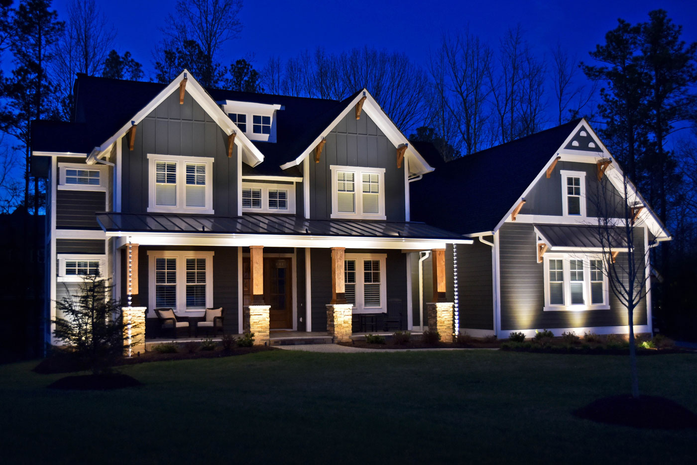 A properly maintained home serviced by Outdoor Lighting Perspectives.