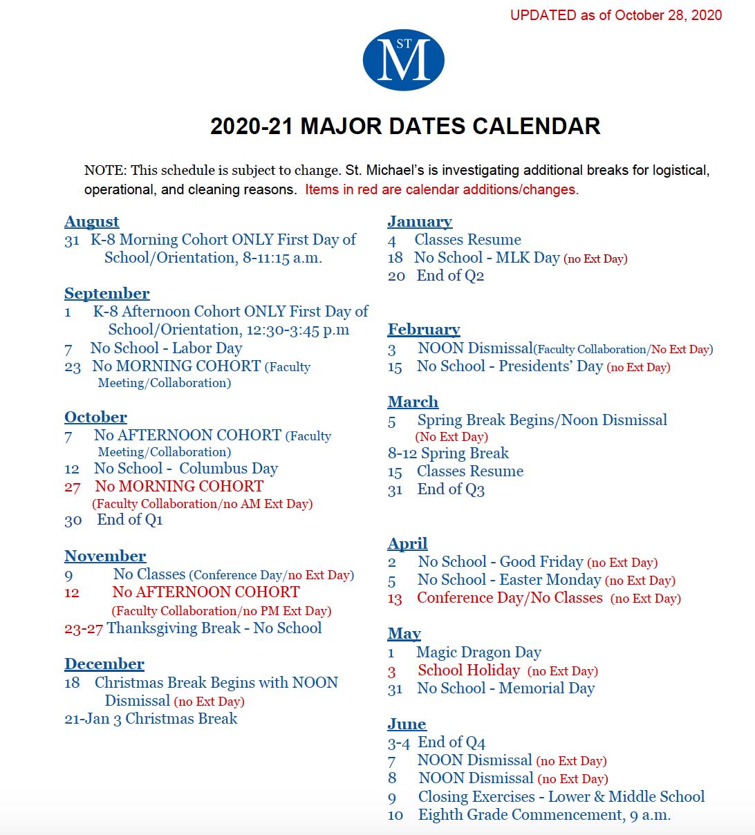 Vcu Spring 2022 Calendar.2020 2021 Key Dates Schedules News Events St Michael S Episcopal School