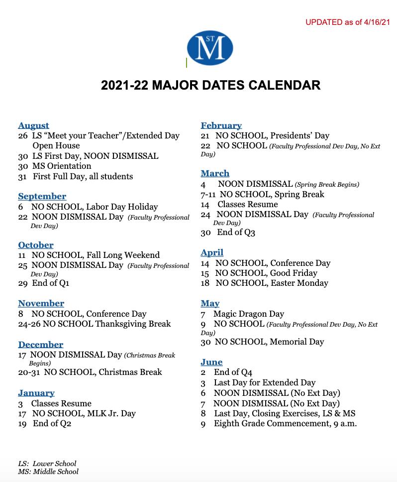 Vcu Fall 2022 Calendar.2021 2022 Key Dates Schedules News Events St Michael S Episcopal School